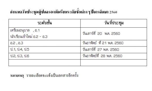 กำหนดวันประชุมผู้ปกครองนักเรียนปีการศึกษา 2560