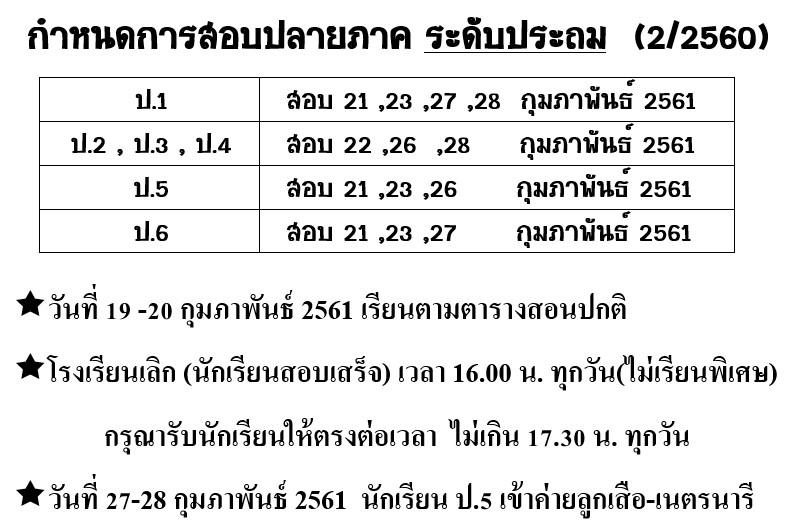 กำหนดการสอบ ปลายภาคเรียนที่ 2 ปี 2560 ระดับอนุบาล 1 – ป.6