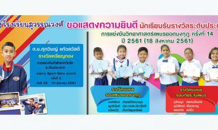 ขอแสดงความยินดีกับนักเรียนได้รับรางวัลระดับประเทศ